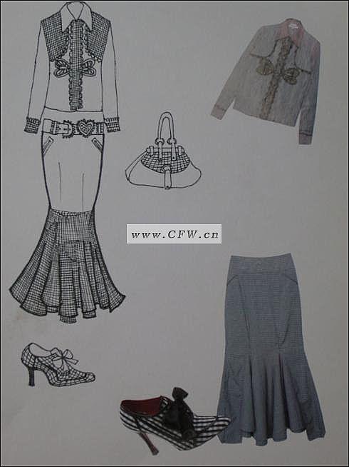 手绘时装款式图-女装设计-服装设计