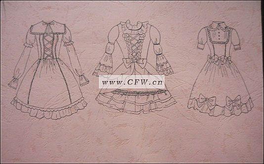 少女服装设计手绘款式图