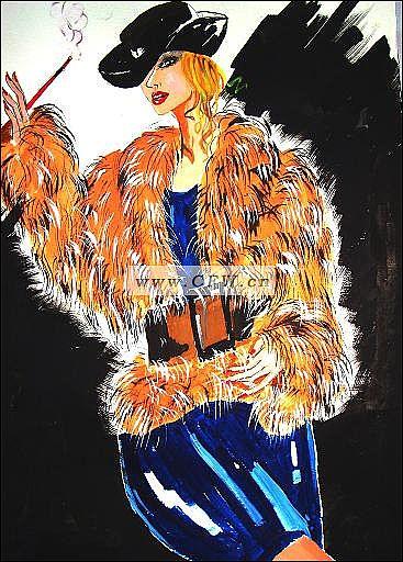 皮草表现-女装设计-服装设计