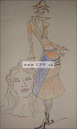 时装画手绘图手稿效果图