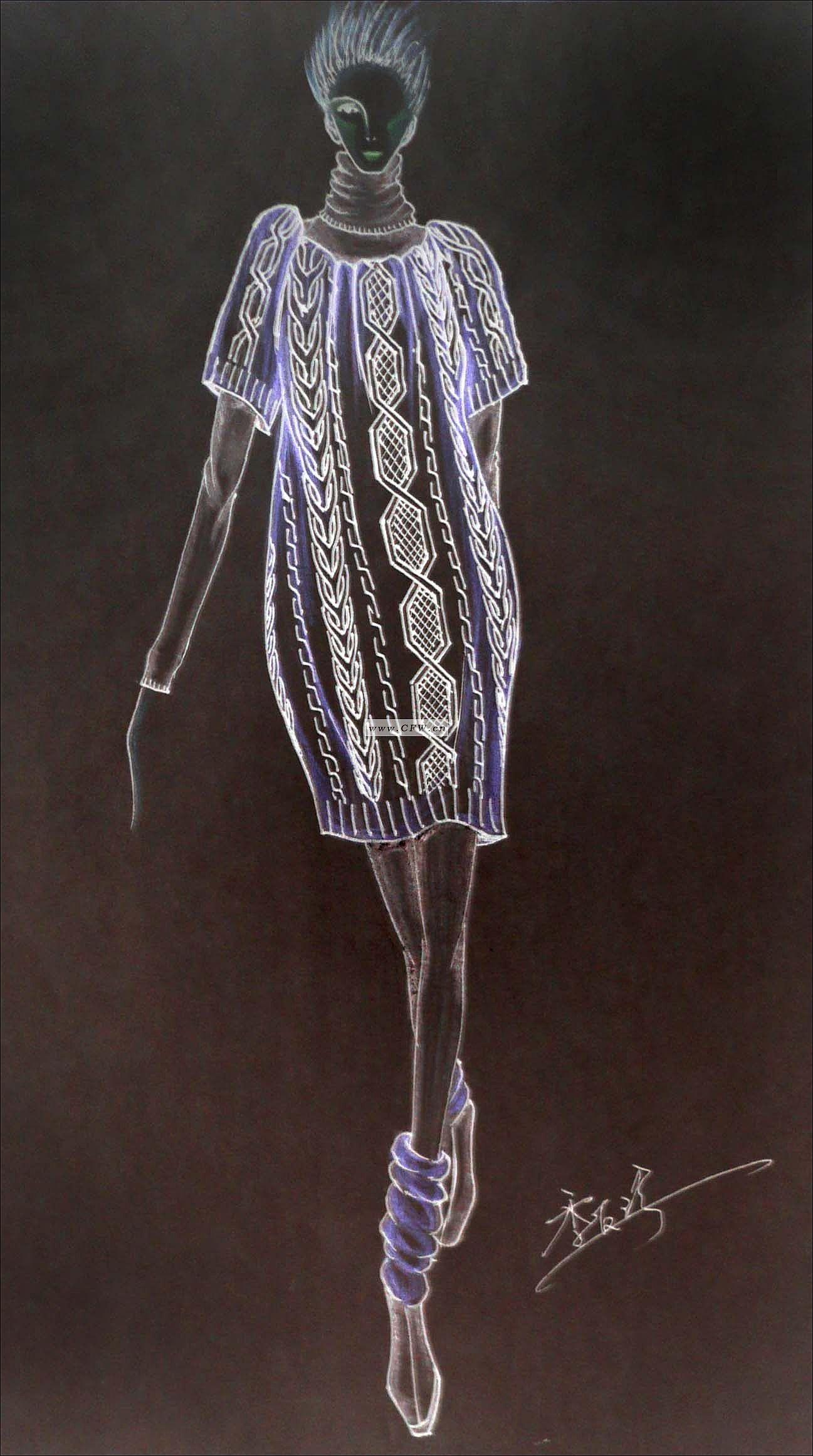 手绘图-1-毛衫针织设计-服装设计