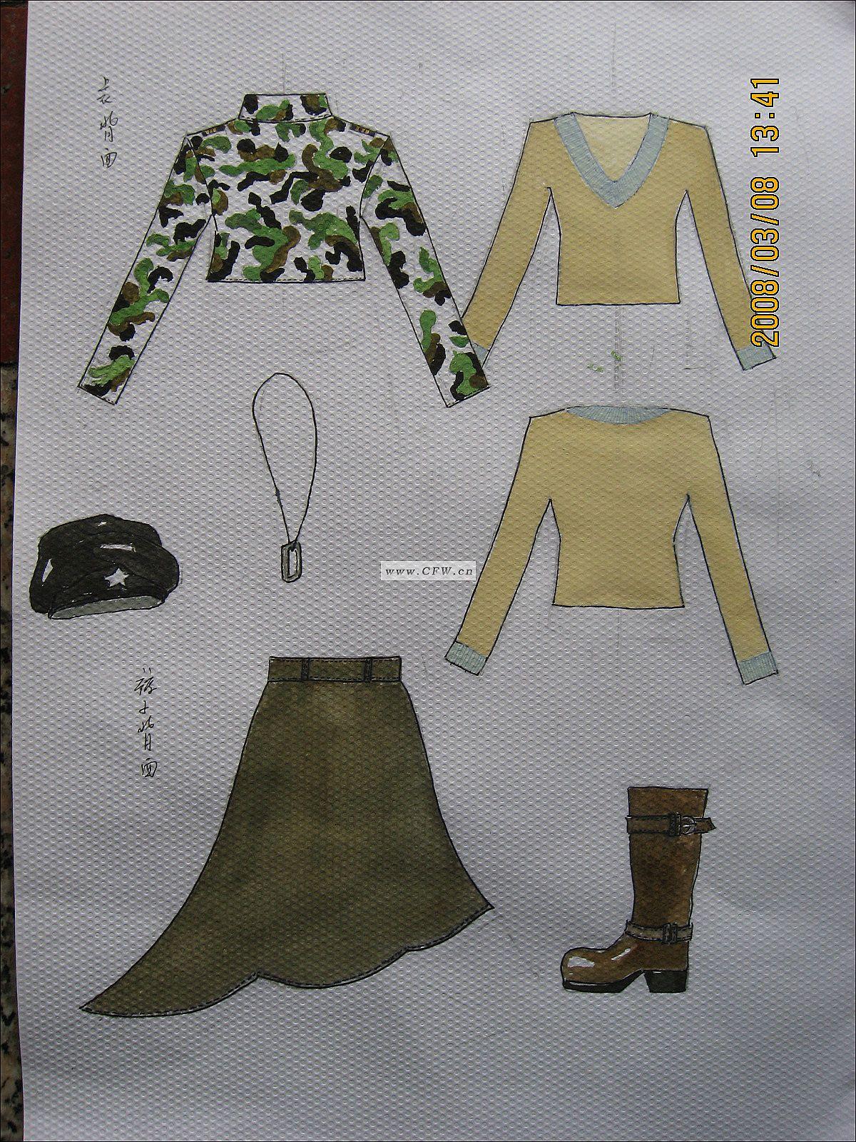 服装设计网 女装款式作品 > 套装/系列作品  012图片