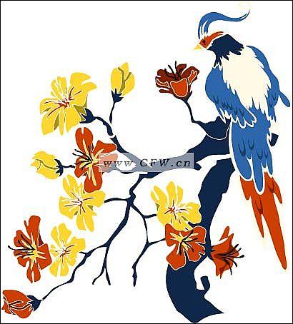 彩色花鸟刺绣-电脑手绘