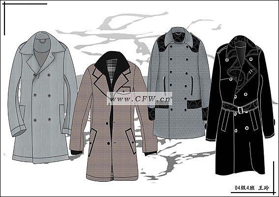 男士大衣作品-男士大衣款式图