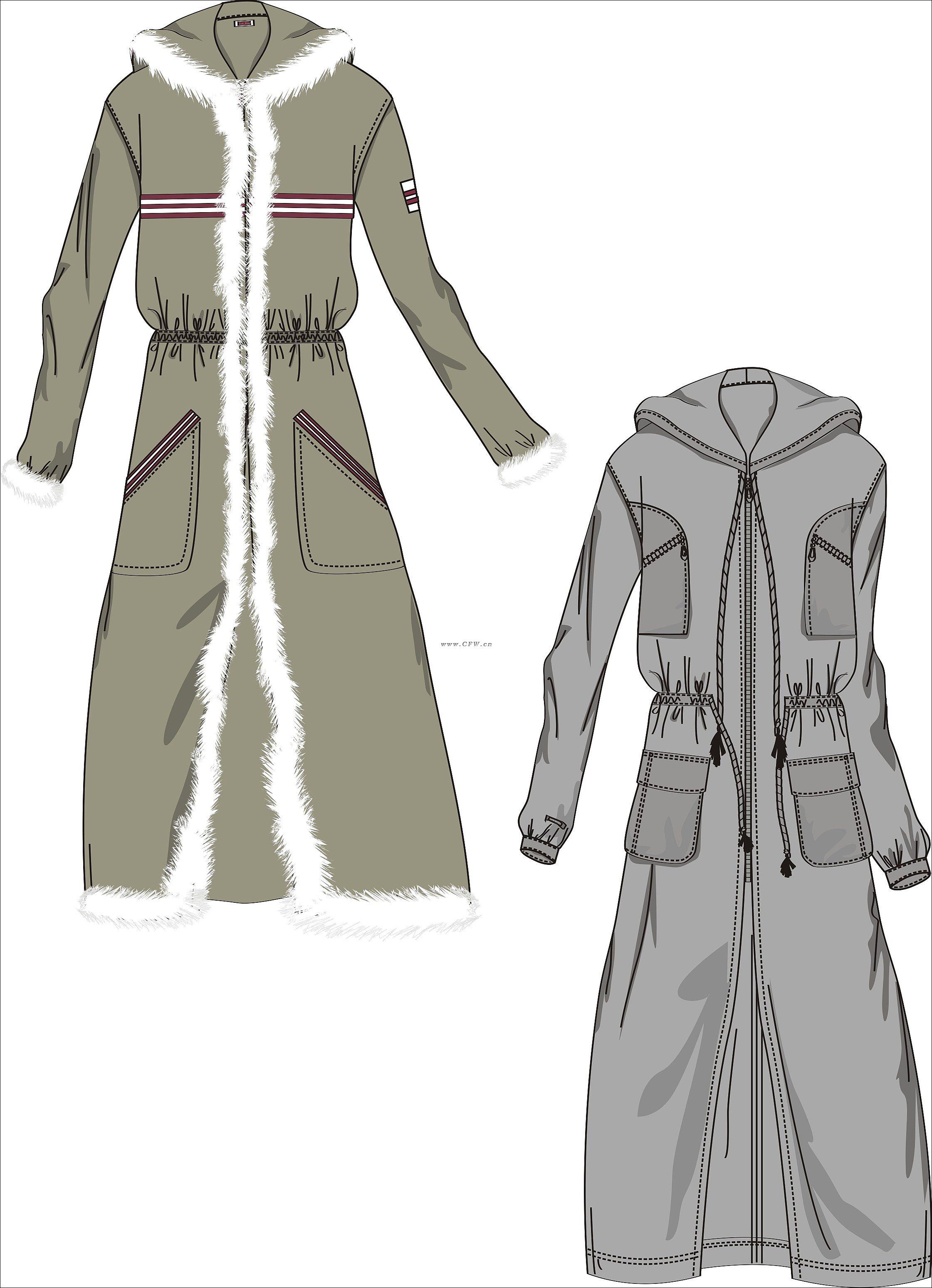 风衣款式图-男士风衣设计图-cfw服装设计图片