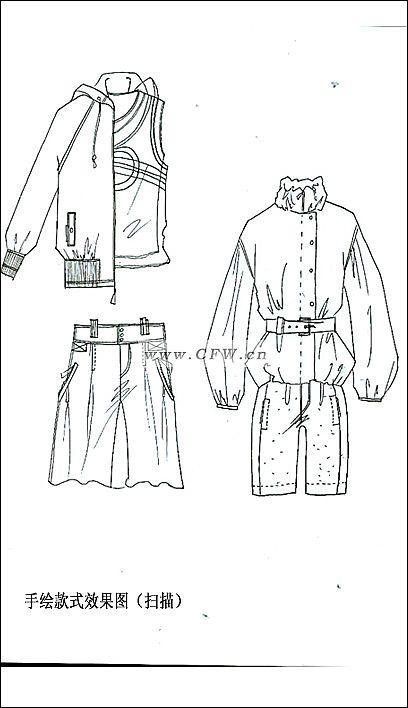手绘效果款式图-女装设计-服装设计