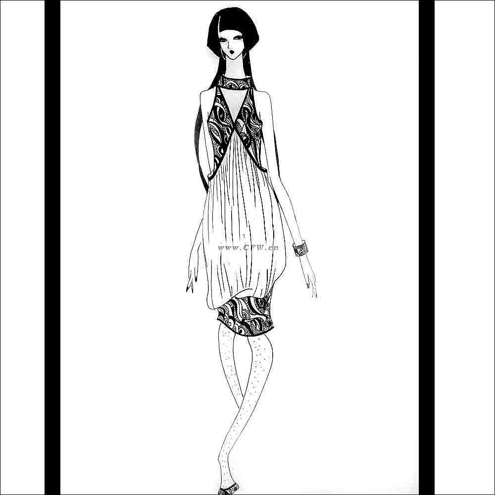 时尚女装设计——手绘草图照片-女装设计-服装设计