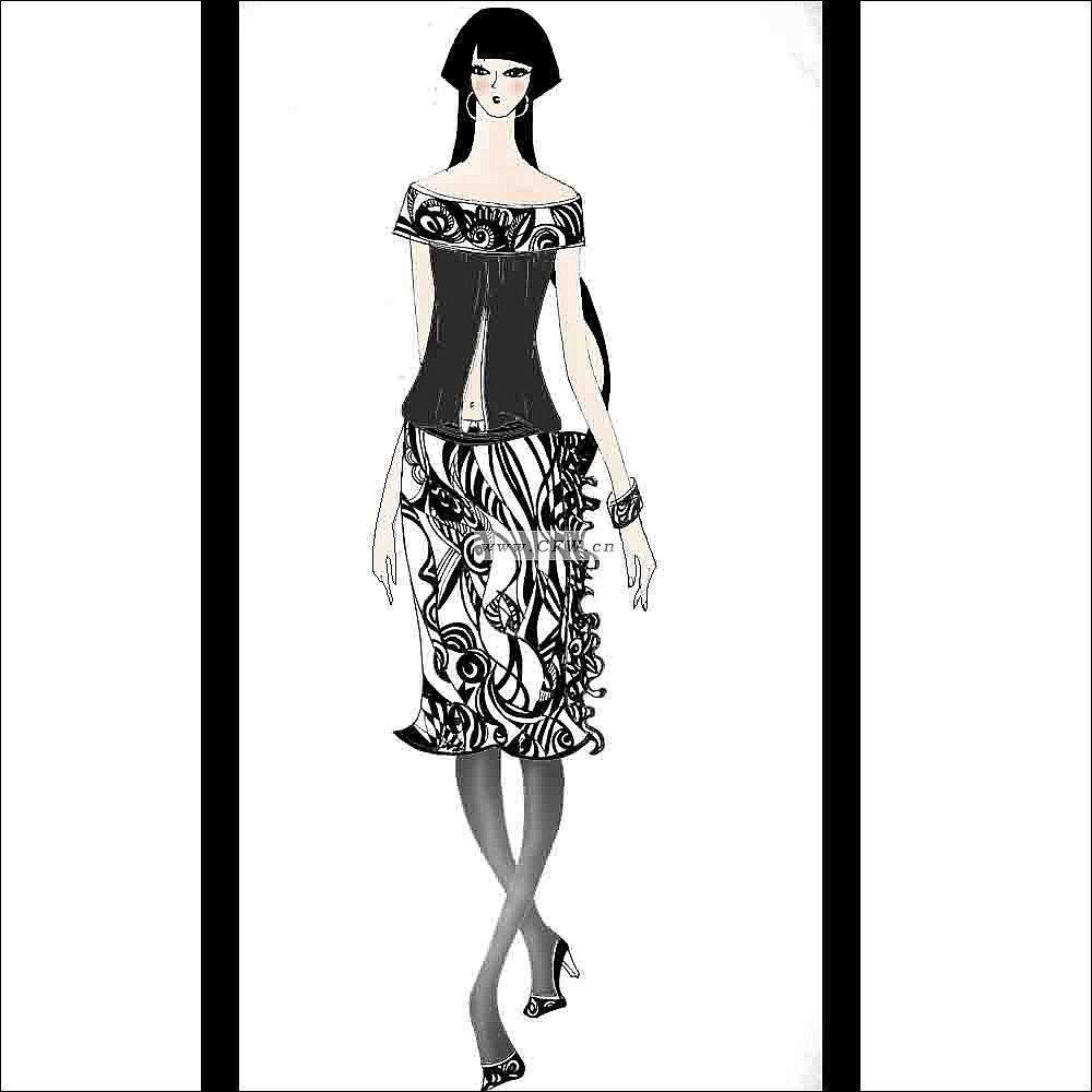 职业装,手绘设计草图-女装设计-服装设计-服装设计网