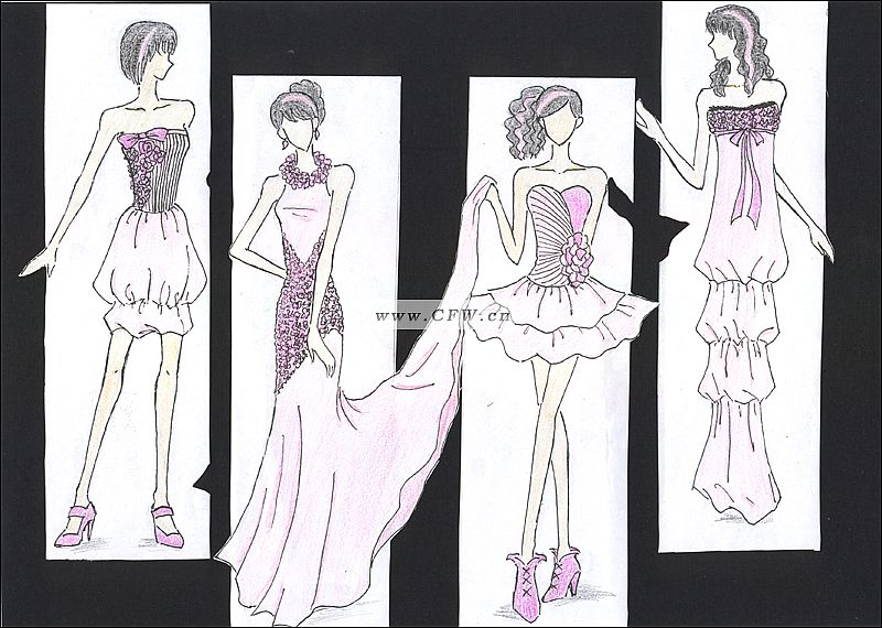 服装设计手绘图--花样情怀系列-女装设计-服装设计
