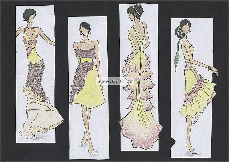 抽褶服装款式图手绘