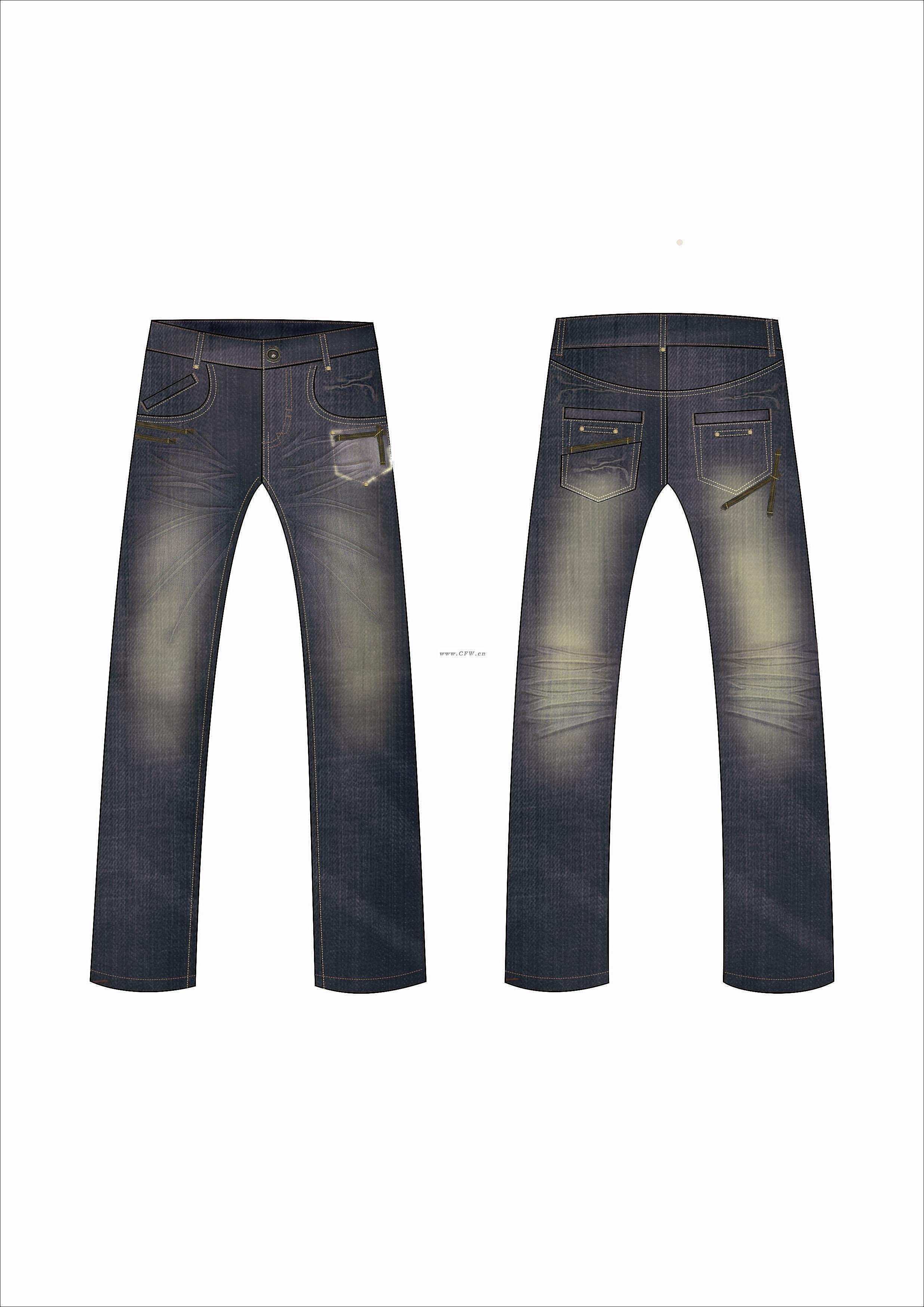 男士牛仔裤设计-男牛仔裤款式图-服装设计