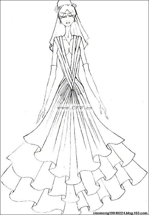 彩铅手绘婚纱步骤图