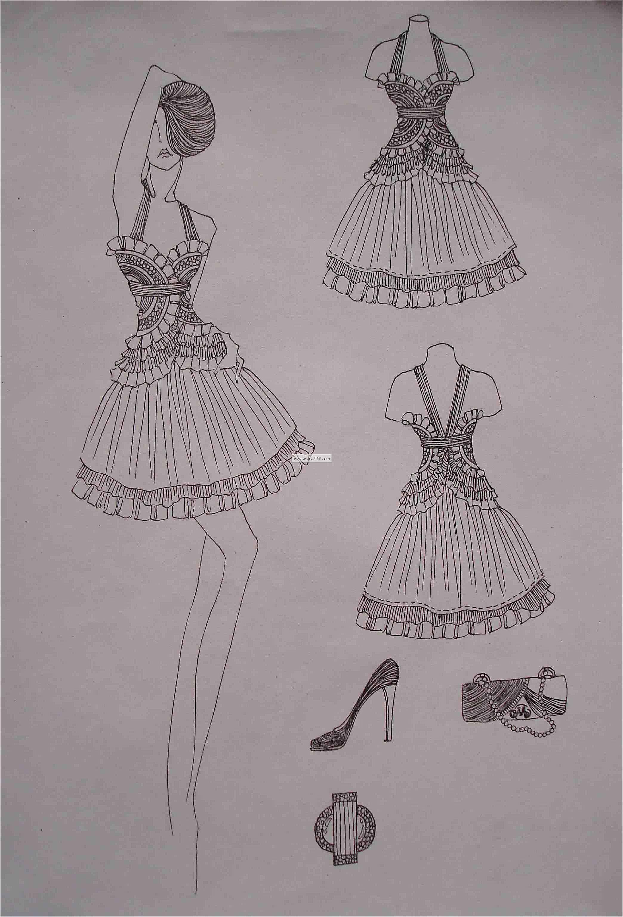 设计手绘稿-女装设计-服装设计