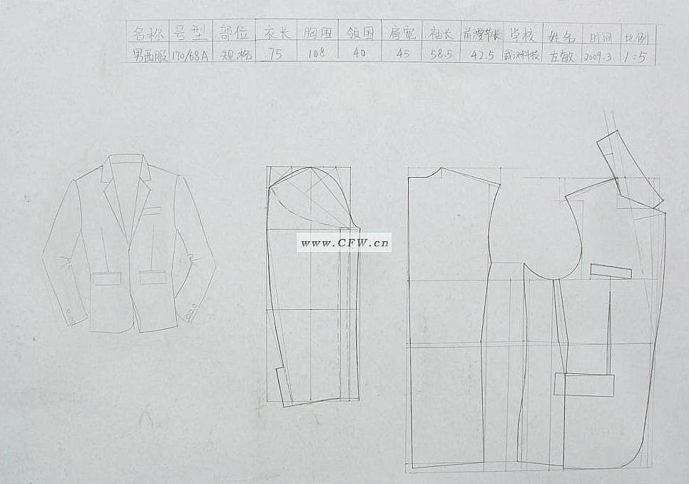 西服制版-男装设计-服装设计