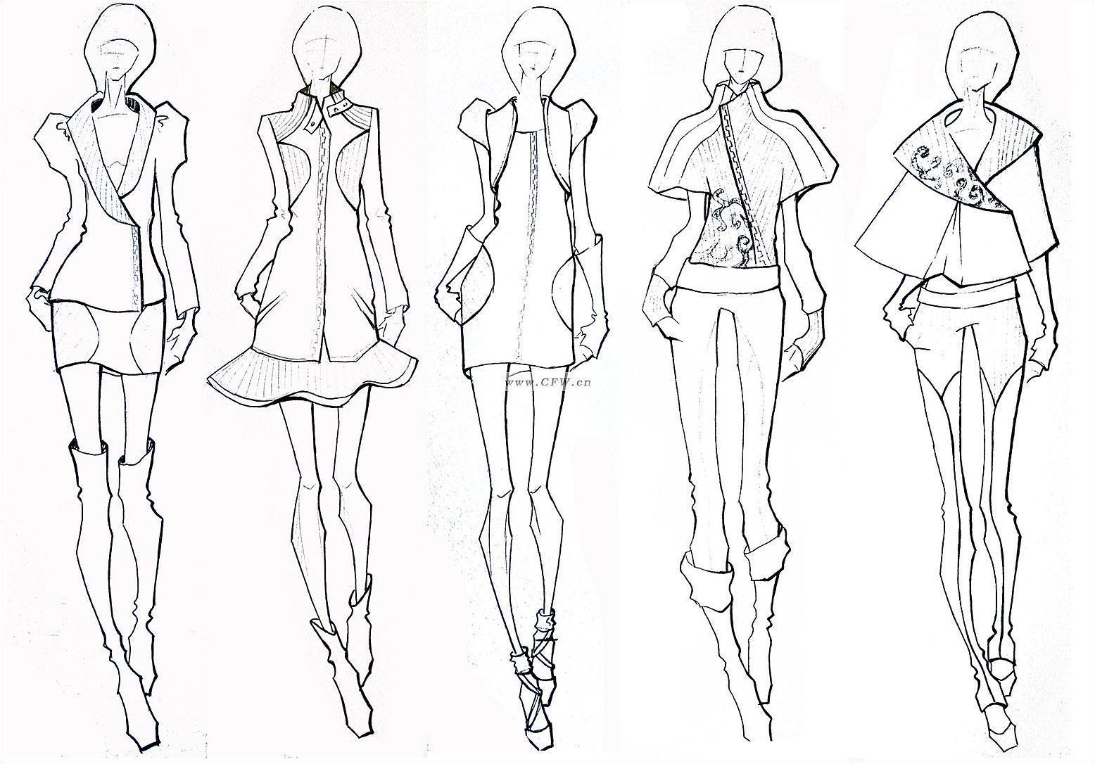 线稿-女装设计-服装设计
