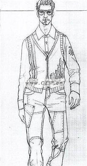 手绘图-男装设计-服装设计