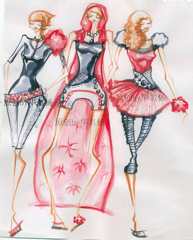 手绘效果图——华灯初上-婚纱礼服设计-服装设计