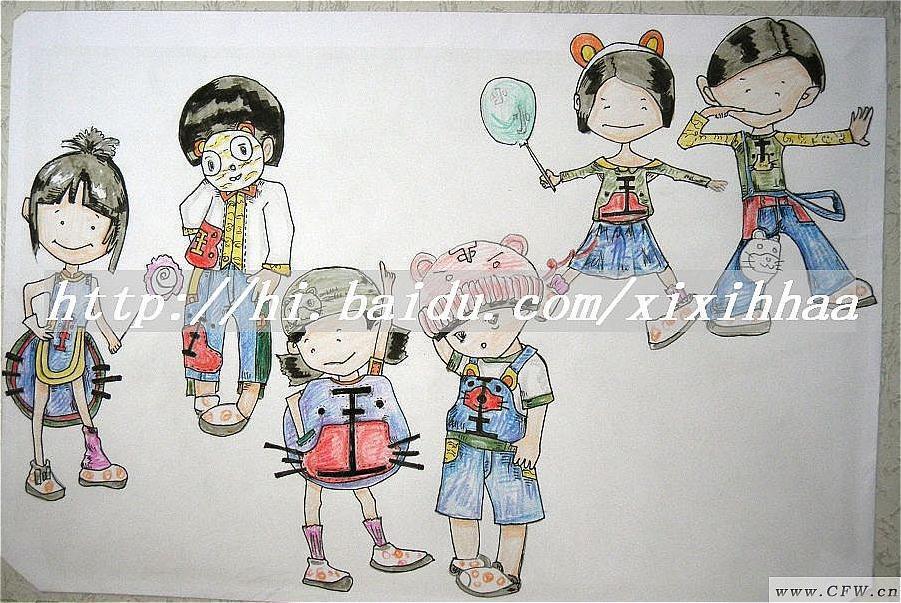 虎牙效果图 (手绘)-童装设计-服装设计