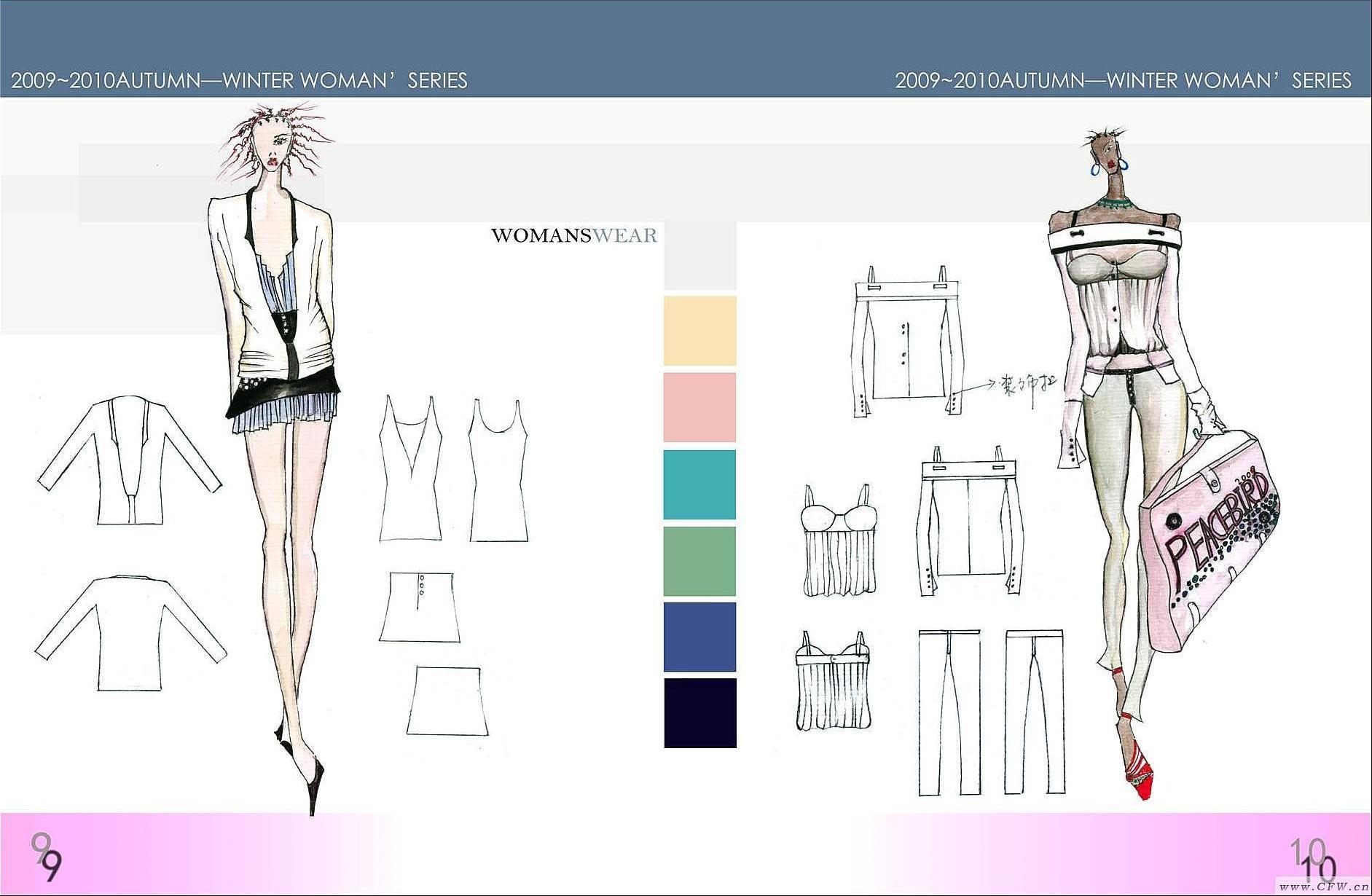 男女休闲装手绘效果图-女装设计-服装设计
