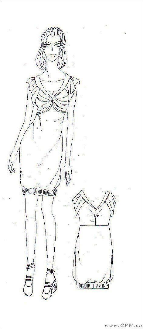 手稿效果图-女装设计-服装设计