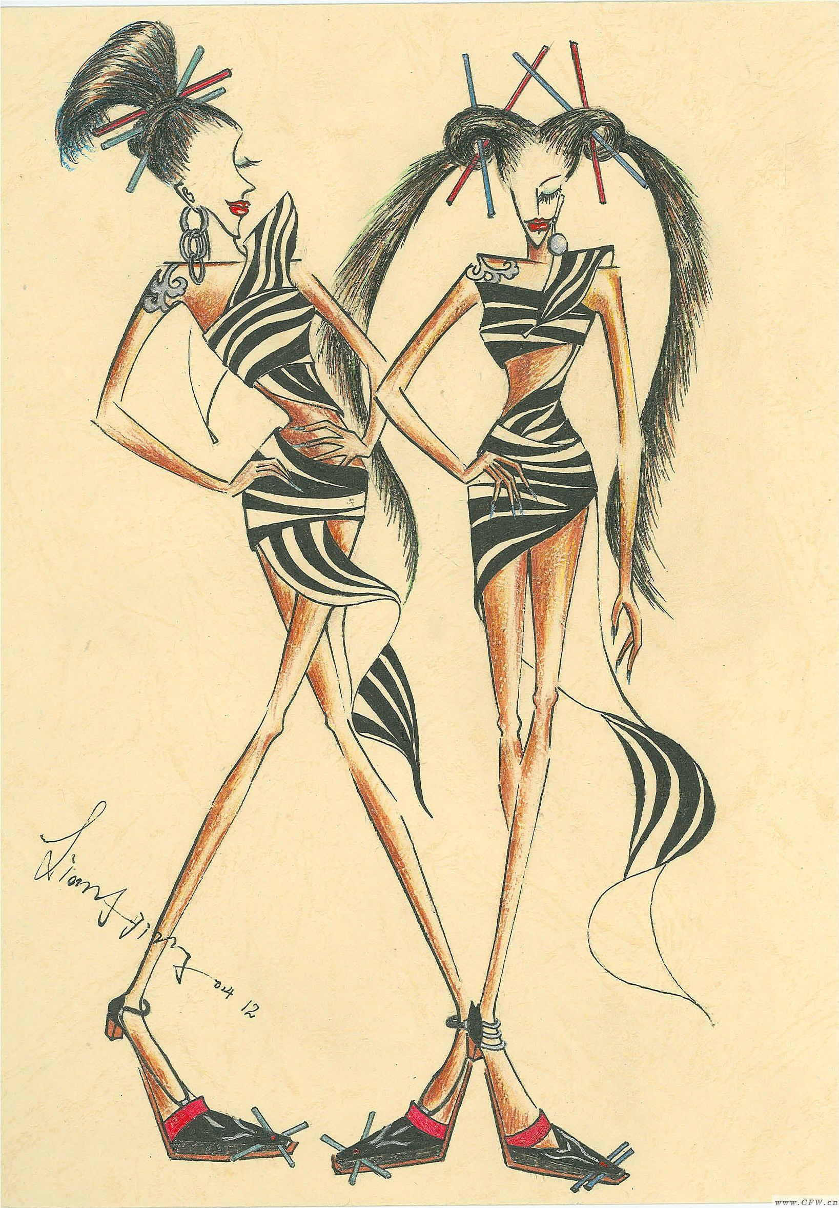 铅笔手绘-女装设计-服装设计
