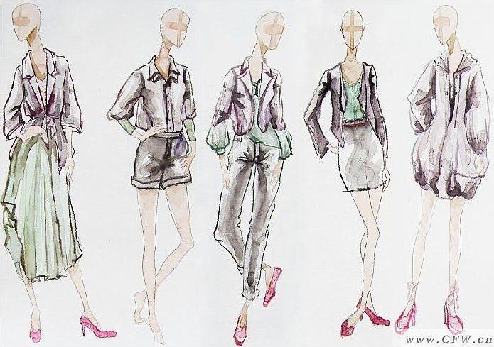 系列效果图手绘彩稿-女装设计-服装设计