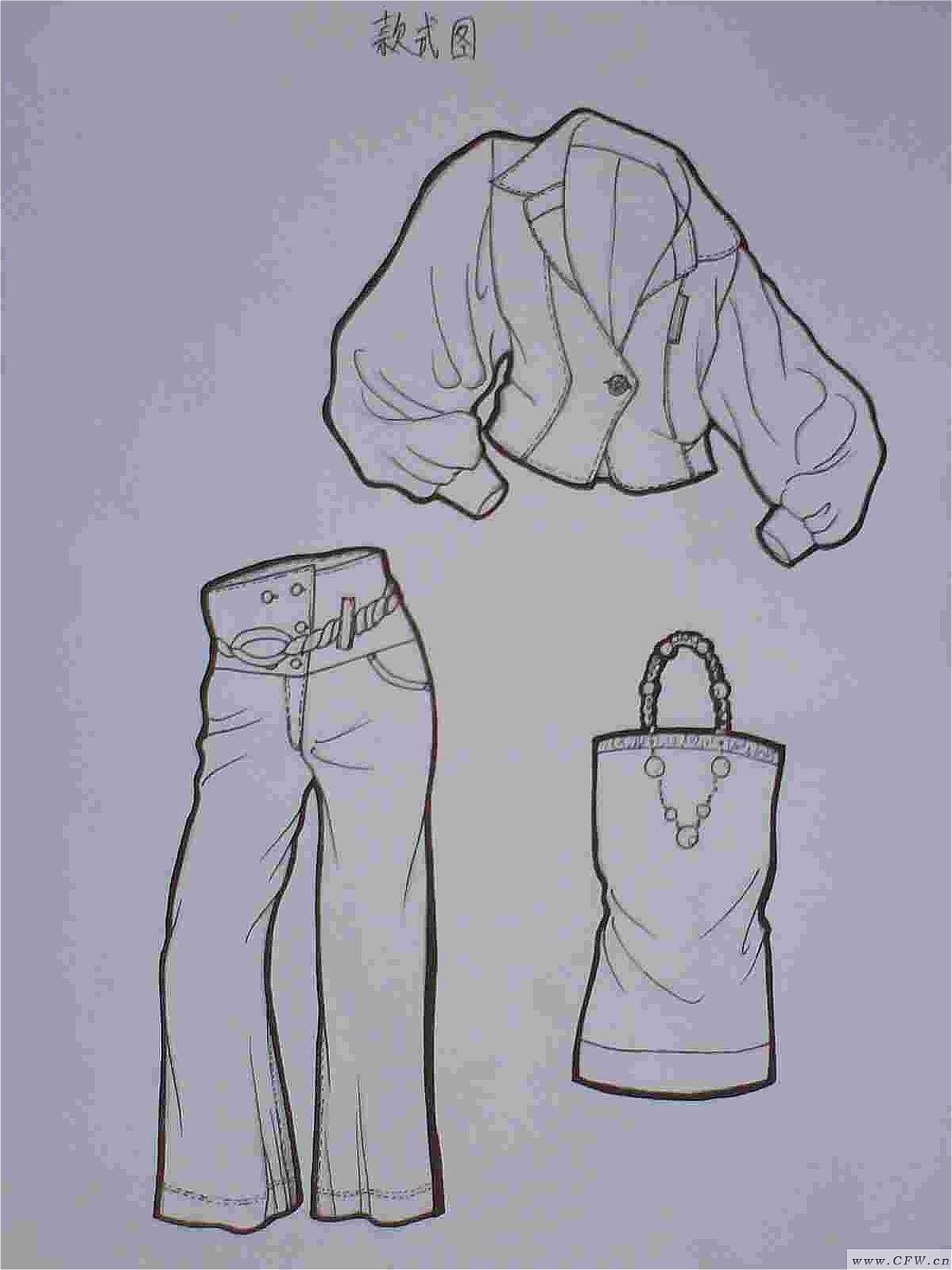 手绘黑白稿-图案设计设计-服装设计