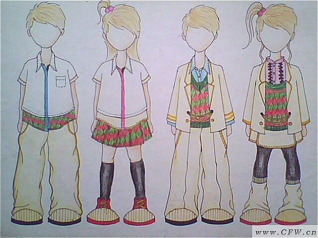 童装校服设计图-童装设计-服装设计