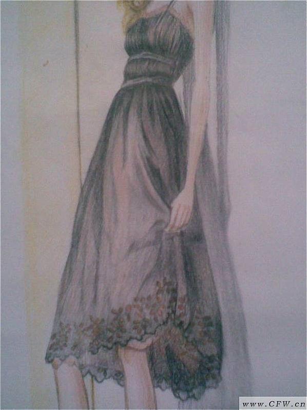 彩铅作品2-女装设计-服装设计
