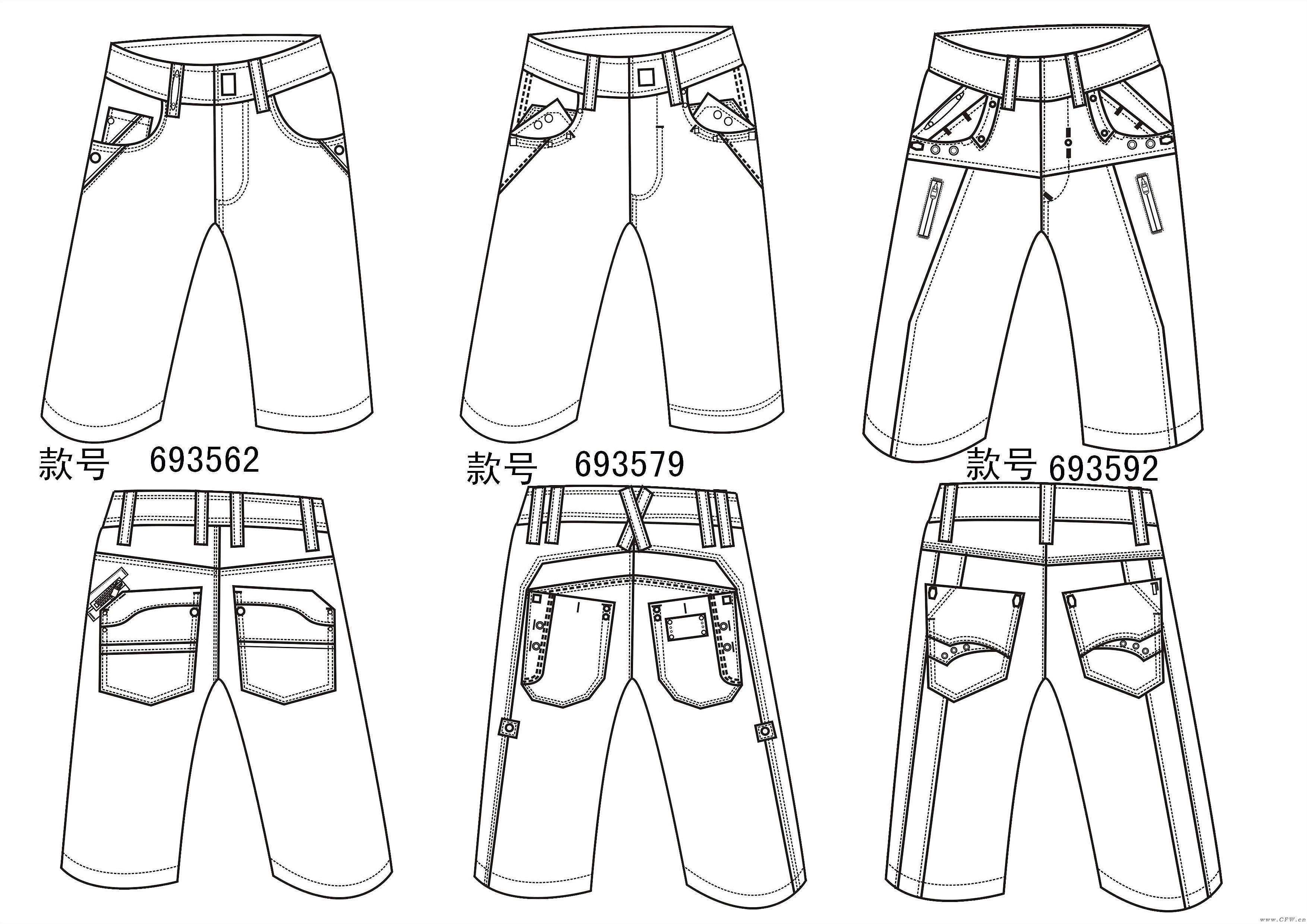 休闲牛仔短裤作品-休闲牛仔短裤款式图