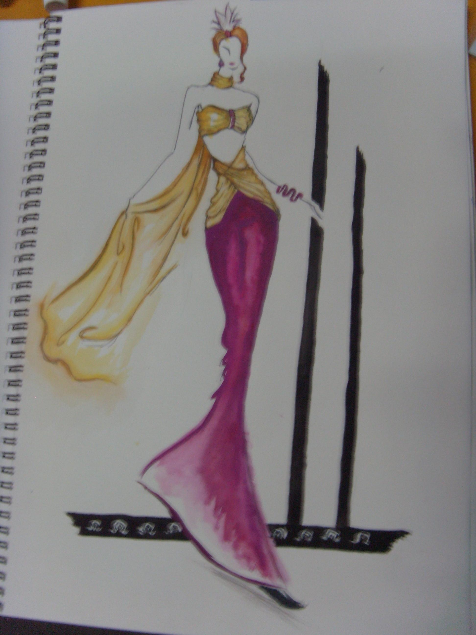 手绘水粉效果图-设计-服装设计