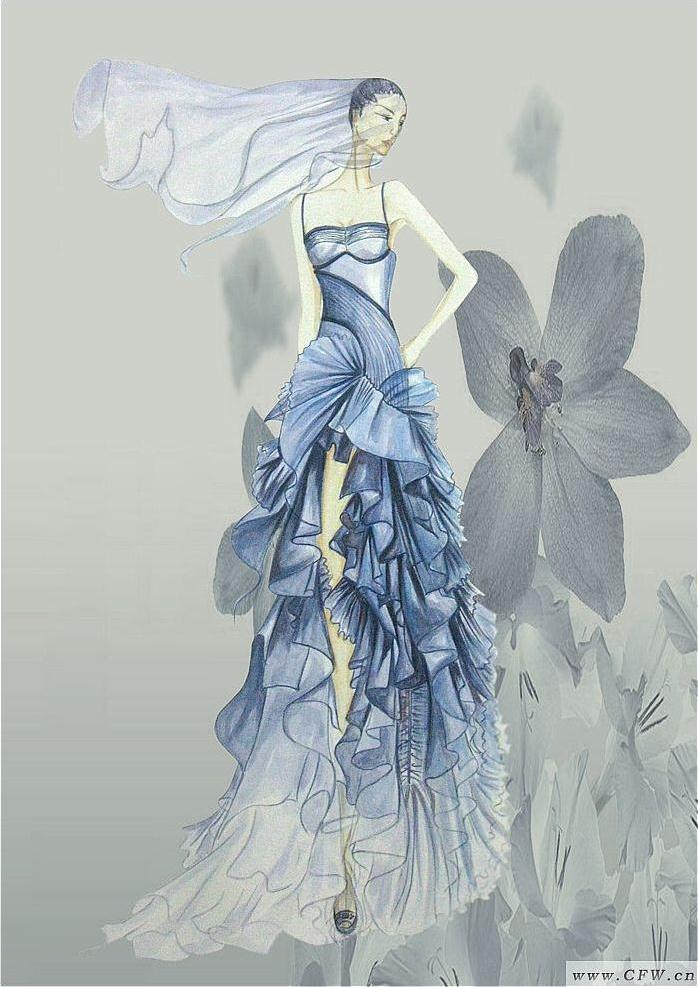 手绘效果图-婚纱礼服设计-服装设计