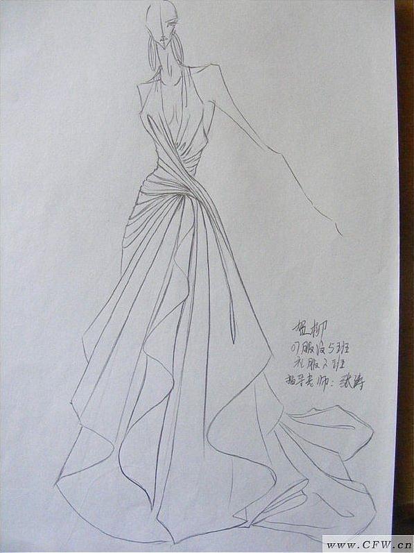 线描搞-婚纱礼服设计-服装设计