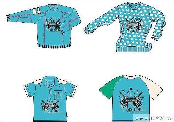 一系列服装作品-一系列服装款式图