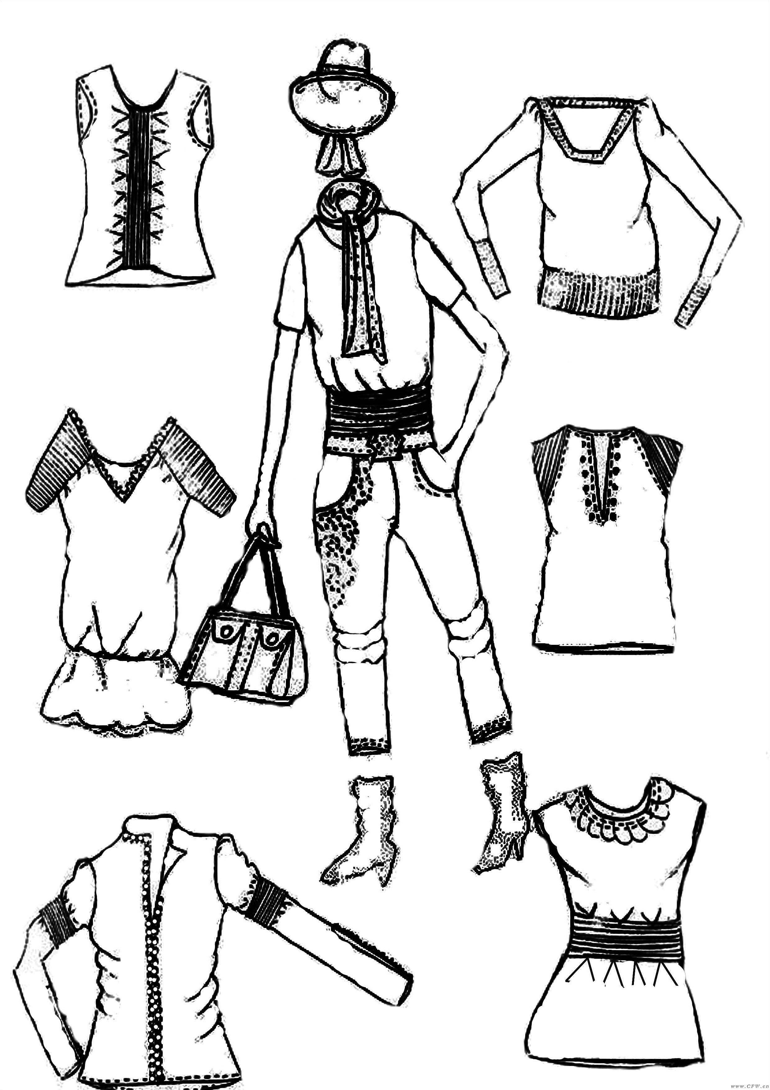 手绘作品休闲装系列-女装设计-服装设计