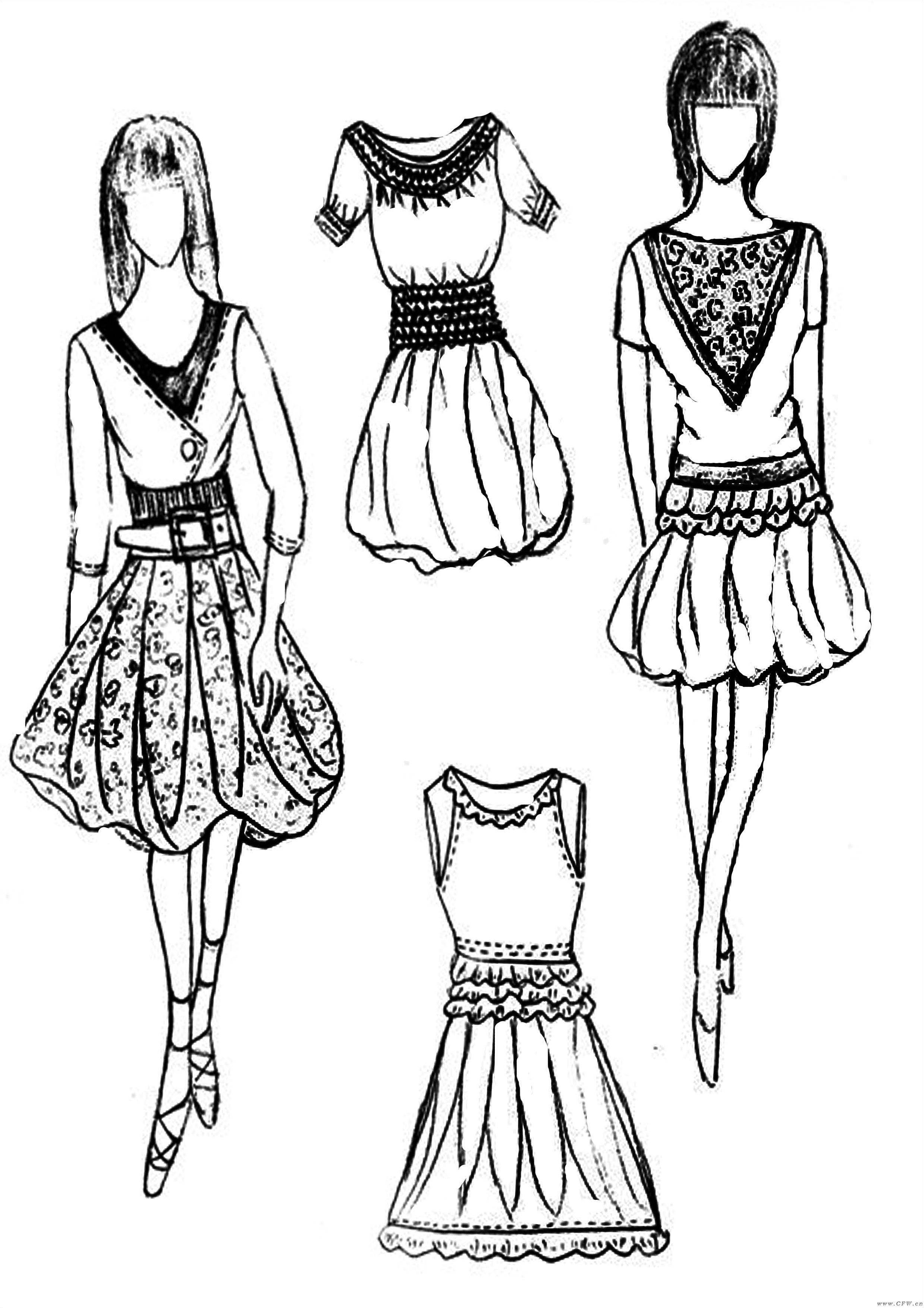 广州服装陈列师培训_手绘作品淑女装系列-女装设计-服装设计
