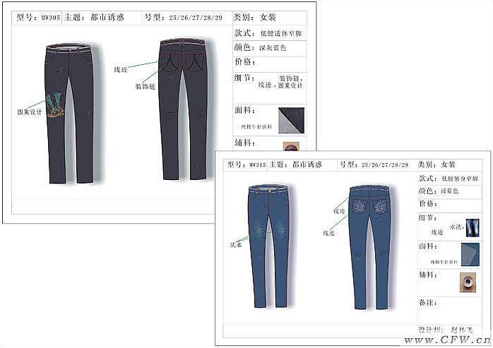 牛仔裤设计款式图作品-牛仔裤设计款式图款式图