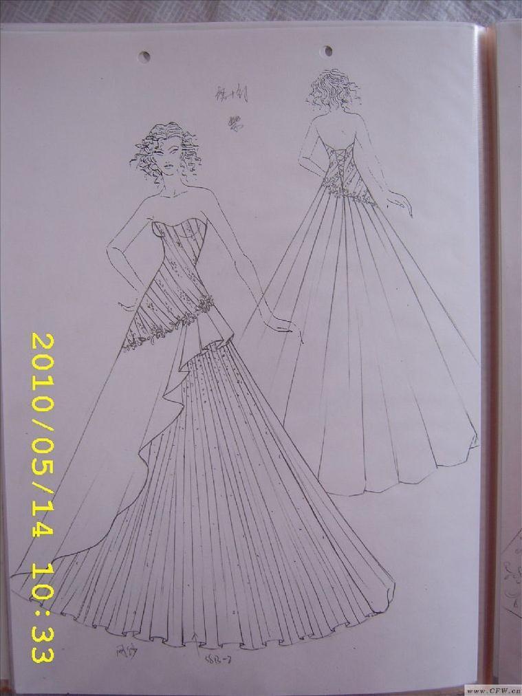 婚纱手绘作品-婚纱手绘款式图