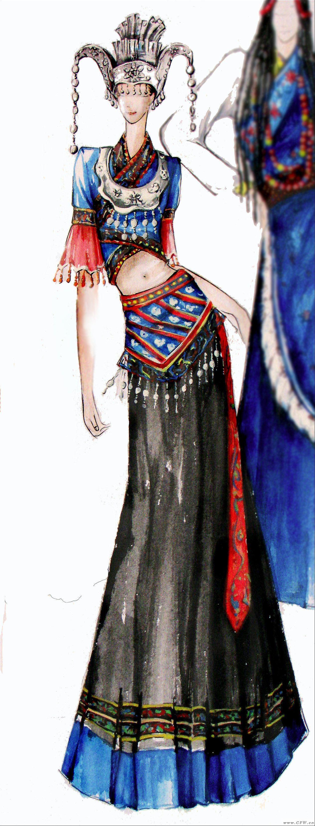 民族手绘-女装设计-服装设计
