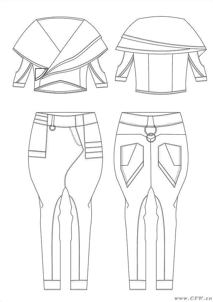 創意:靈感來源西方嘻哈文化,女上裝的斜門襟小外套通過收腰省、領省使服裝合體,疊領使服裝層次行增強。哈倫褲采用斜門襟,前片不等的口袋設計都無不增強了服裝的變化性。