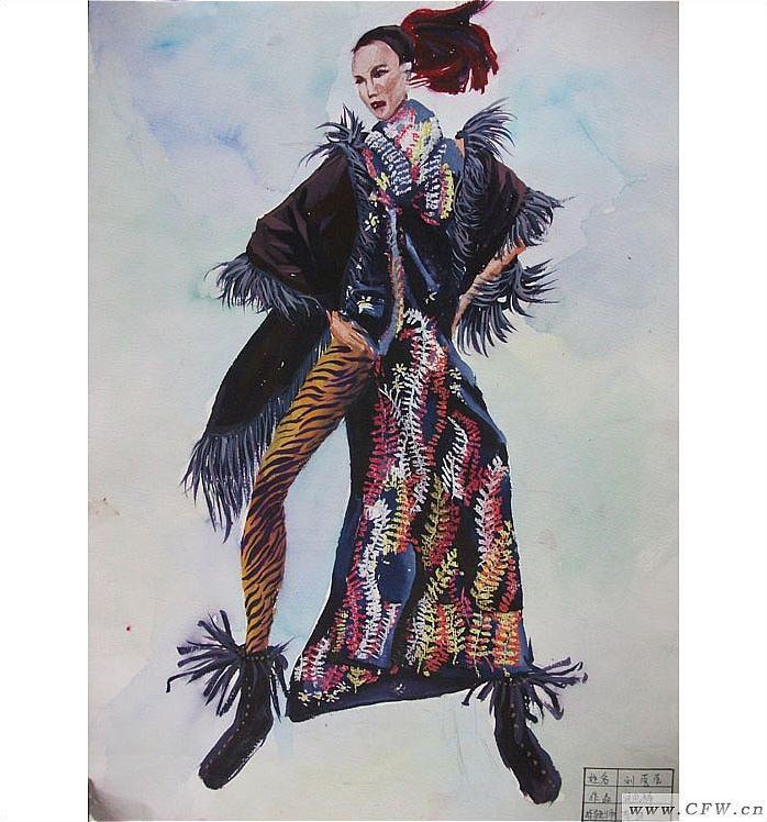 女装手绘效果图(油画棒)
