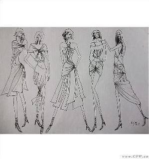 女装手绘效果图(油画棒)-女装设计-服装设计-服装