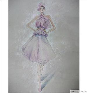 女装手绘效果图(彩铅)