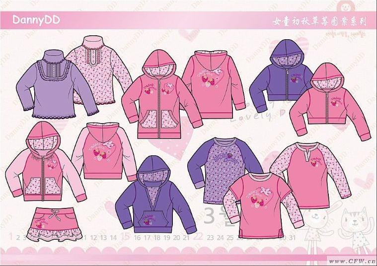 草莓图案系列-童装设计-服装设计