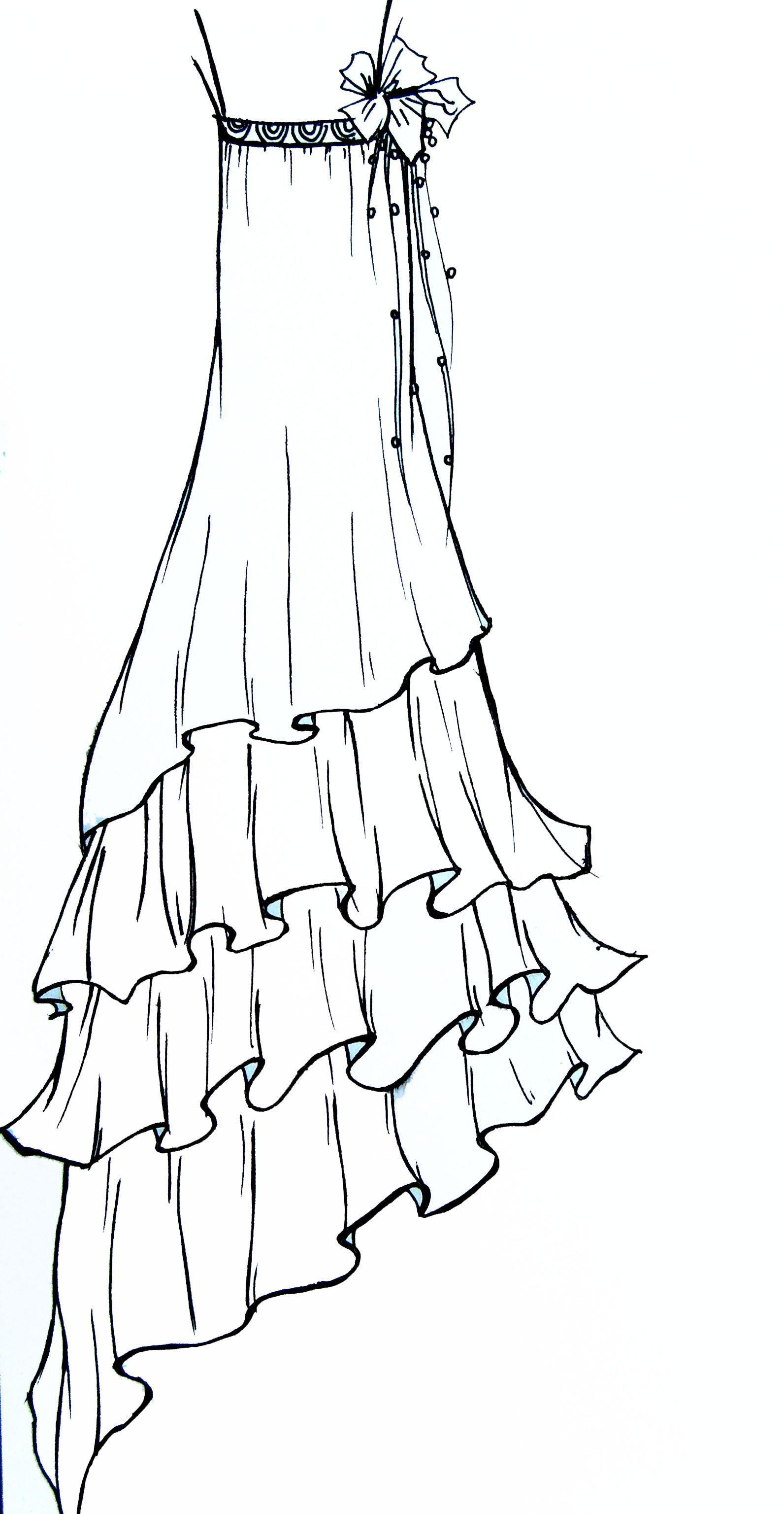手绘稿-婚纱礼服设计-服装设计