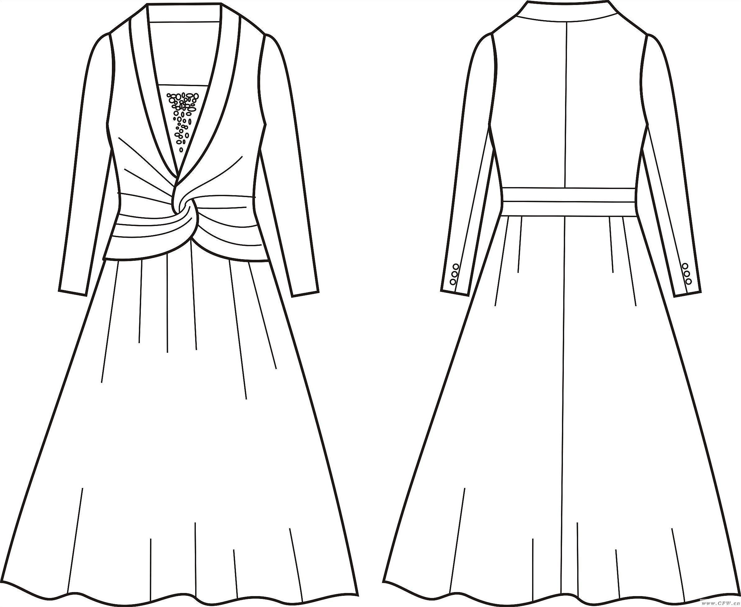 v型服装款式手绘