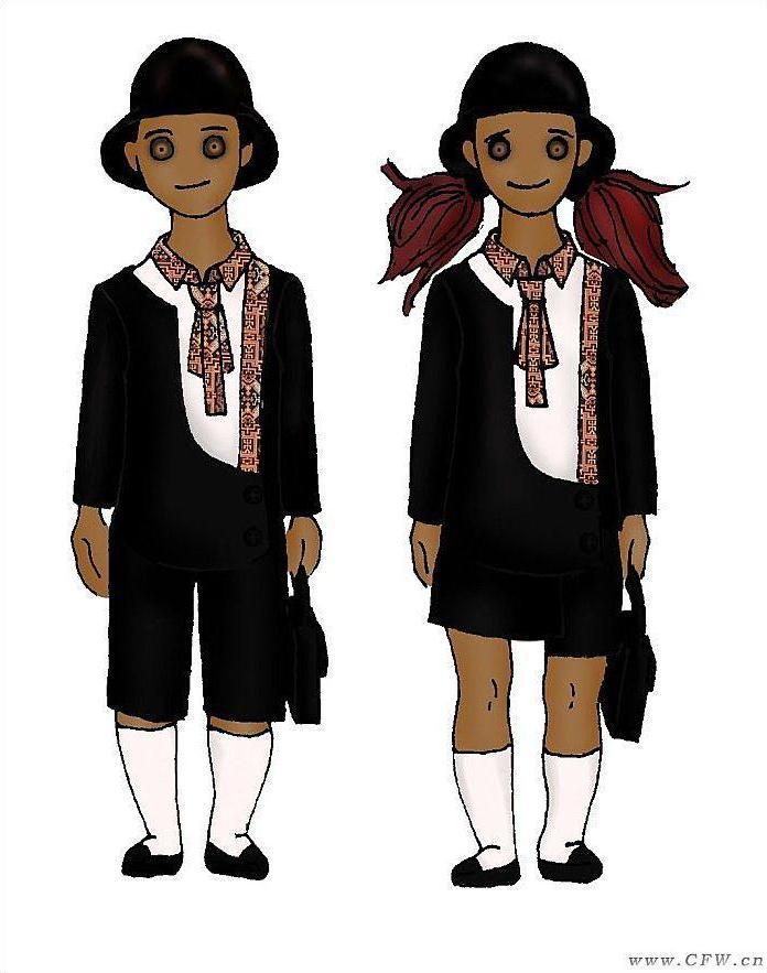 小学生校服设计图-童装设计-服装设计