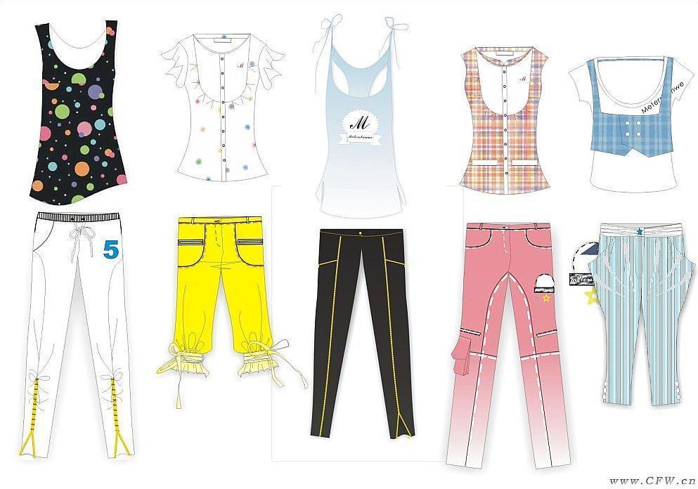 少女休闲夏装手稿-女装设计-服装设计