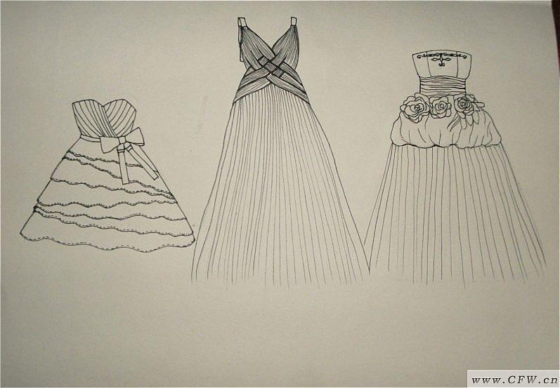 礼服款式图设计-婚纱礼服设计-服装设计