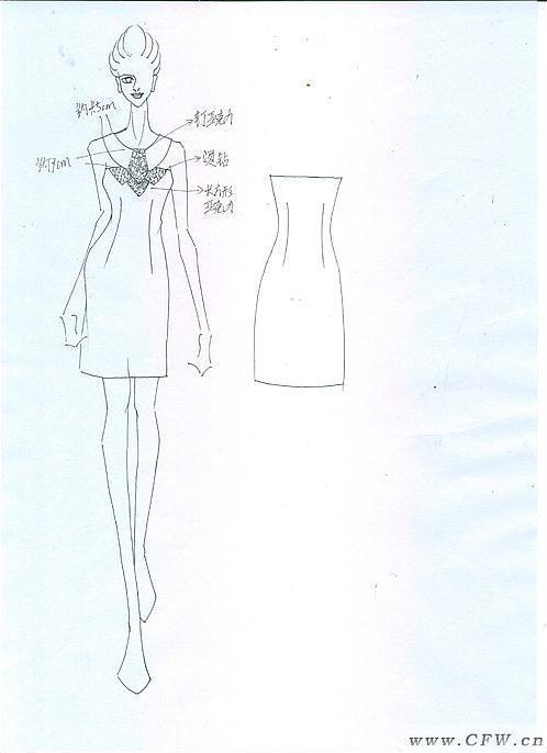 礼服平面款式图手绘-中国风礼服款式图线稿-平面款式图-礼服款式图